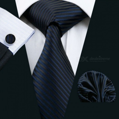 Barry.Wang LS-877 Dark Striped 100% Silk Classic Jacquard Woven Tie w/ Hanky Cufflink Set for Men Formal Wedding Party LS0336