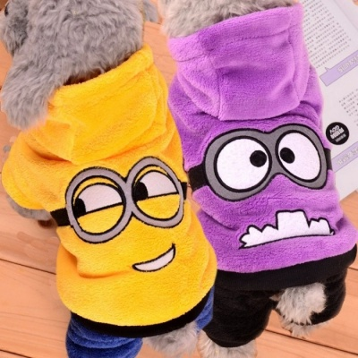 Cute Funny Pet Dog Fleece Clothes, Soft Winter Puppy Coat Jumpsuit, Hoodie Apparel Clothing for Small Dogs XL/Purple