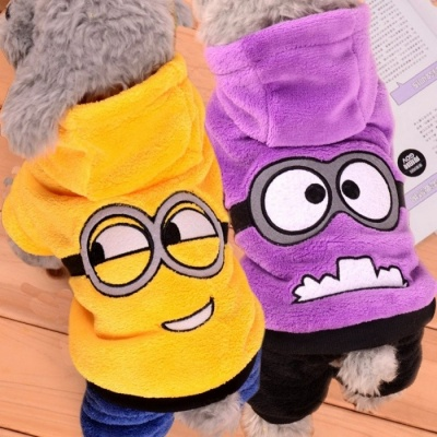Cute Funny Pet Dog Fleece Clothes, Soft Winter Puppy Coat Jumpsuit, Hoodie Apparel Clothing for Small Dogs L/Yellow