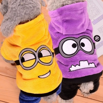 Cute Funny Pet Dog Fleece Clothes, Soft Winter Puppy Coat Jumpsuit, Hoodie Apparel Clothing for Small Dogs M/Yellow
