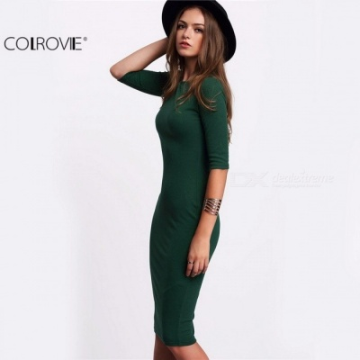 COLROVIE Summer Style Women Bodycon Work Dresses, Sexy Casual Green Crew Neck Half Sleeve Midi Dress   S/Green