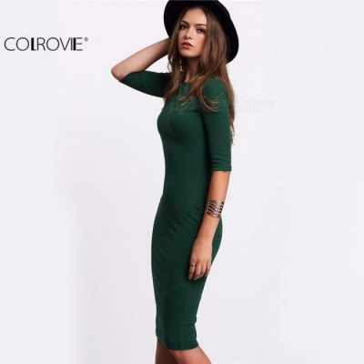 COLROVIE Summer Style Women Bodycon Work Dresses, Sexy Casual Green Crew Neck Half Sleeve Midi Dress   L/Green