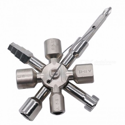 10-in-1 Multifunction Electrician Plumber Utility Cross Switch Wrench Universal Square Triangle Key for Gas Train Bleed Radiator silver