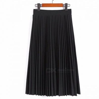 Aonibeier Fashion Women's High Waist Pleated Solid Color Length Elastic Skirt, Lady Party Casual Skirts Dress One Size/Black