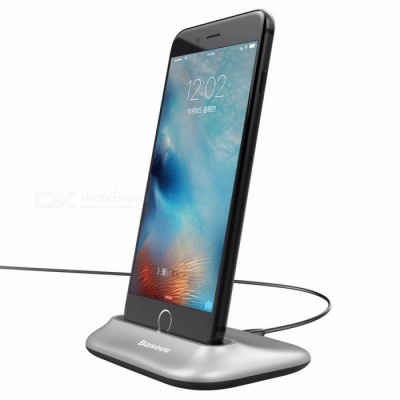 Baseus Mini Data Sync Docking Charger, Charging Dock Station Desktop Holder Stand for IPHONE 5 SE 6 7 Plus Silver