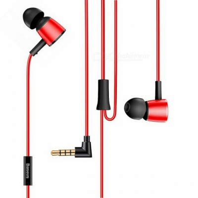 Baseus H07 Wired Earphone Hi-Res Audio Bass Sound Earphones Headset Earbud with Microphone for Mobile Phone Red