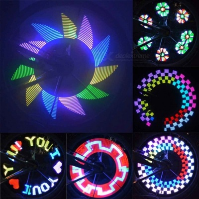 32-LED DIY Colorful Bike Bicycle Wheel Spokes Light Lamp, Cycling Tire Signal LED Luces for Night Riding Black