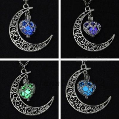 IPARAM Premium Silver Plated Moon Glowing Necklace, Green Stone Charm Jewelry, Perfect Halloween Gift  Blue