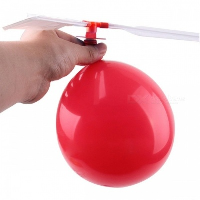 10Pcs / Lot Portable Mini Traditional Classic Balloon Helicopter, Kids Child Children Play Flying Toy Red