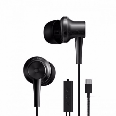 Original Xiaomi ANC Headset Hybrid Type-C Charging-Free Music Earphones with Mic Line Control for Xiaomi Mi6 MIX Note2 Mi5S Plus black