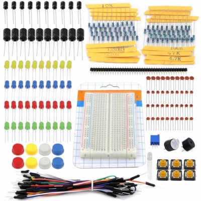 Starter Kit DIY Portable Kit Set Resistor LED Capacitor Jumper Wires Breadboard Resistor Kit with Retail Box for Arduino colorful