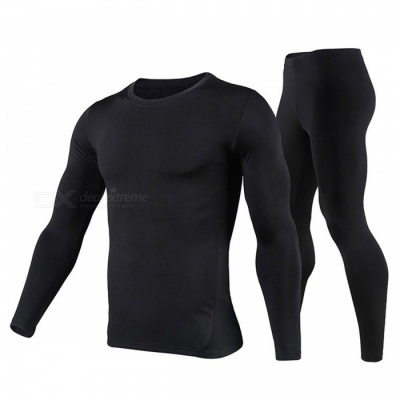 Herobiker Men's Stylish Fleece Lined Thermal Underwear Set Motorcycle Cycling Skiing Base Layer Winter Warm Tops + Pants Set Black/XL