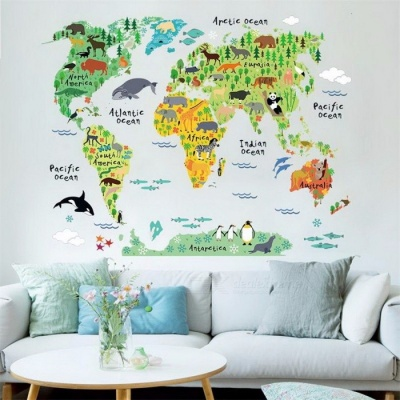 ISABEL Animal World Map Wall Stickers for Kids Rooms, Living Room Home Decorations Decal Mural Art DIY Office Wall Art 035