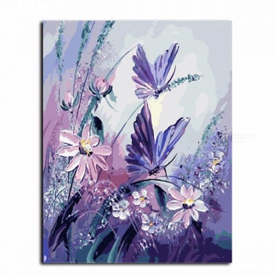 DRAWJOY G406 Butterfly Frameless Pictures Painting By Numbers, Handpainted On Canvas DIY Oil Painting for Home Decoration 40*50 cm