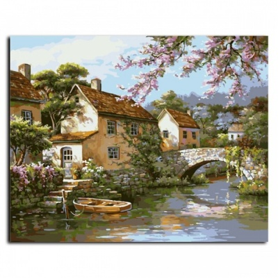 G428 Landscape Frameless Picture Painting By Numbers, DIY Oil Painting on Canvas for Living Room Home Decoration 40*50 cm