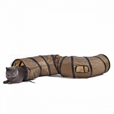 Folding Collapsible Funny S Shape Pet Cat Play Tunnel, Foldable 2-Hole Kitten Cat Rabbit Playing Tunnel Toy M/Brown