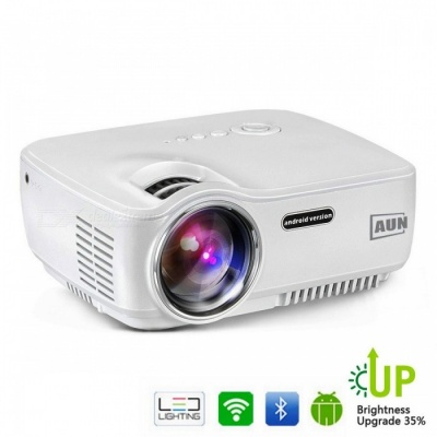 AUN Upgraded AM01S 1800 Lumens 1080P HD LED Projector Set w/ Android 4.4 Wi-Fi Bluetooth, Support Miracast Airplay KODI AC3 White