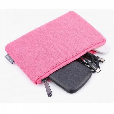 Baseus Portable Mobile Phone Pouch Bag Case Cell Phone Accessories Storage Handbag for IPHONE Samsung Xiaomi Huawei  Fabric Cloth/Rose Red