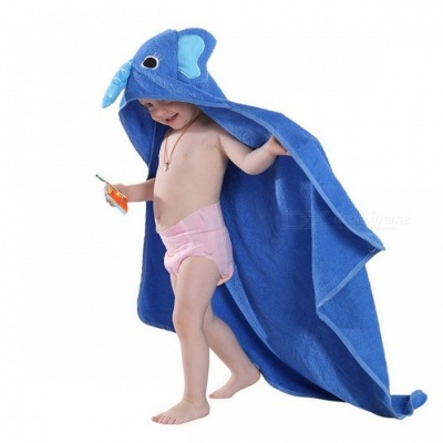 MICHLEY Kids Toddler Cotton Towel Bathrobe Baby Boys Girls Cartton Style Hooded Bath Towel Children Towel Blue Elephant