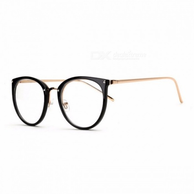 Stylish Vintage High Quality Transparent Clear Glasses Eyeglasses with Carrying Pouch for Women Girls Brown