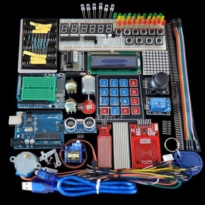 High Quality Starter Kit Breadboard, Holder Step Motor, Servo, 1602 LCD, Jumper Wire Set for Arduino Uno R3 colorful