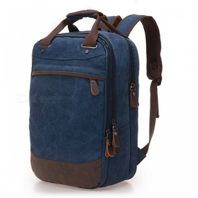 Stylish Casual Canvas Backpack School Bag Computer Backpack Student Leisure Shoulder Bag for Men Boys blue