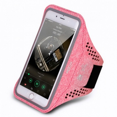ROCK Professional Universal Slim Sports Armlet Arm Band for Running Fitness Cycling Phone Armband for 4-6 Inches Phone devices  Pink