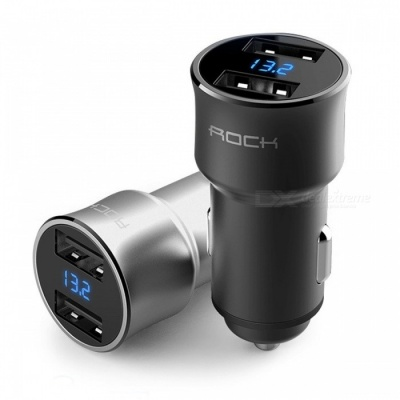 ROCK H2 Dual USB Fast Charge Car Charger Digital LED Display 5V 3.4A Aluminium Alloy Voltage Monitoring for IPHONE Samsung Black