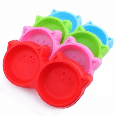 Plastic Cat Face Shaped Pet Bowl Feeding Tool, Environmental Protection Non-toxic Dog Food Double Bowl Tableware Blue