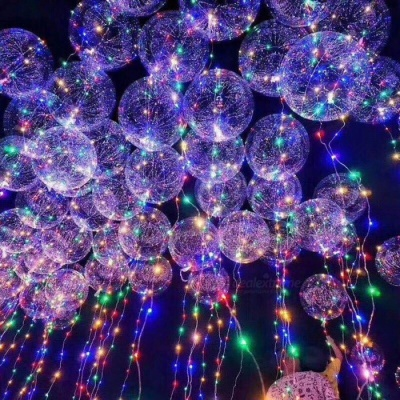 3m LED Air Balloon String Lights, Luminous LED Round Bubble Helium Balloons for Birthday Party Decoration, Kids Toy as show/24inch Luminous