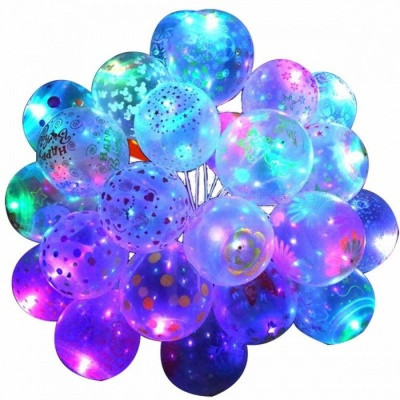 10Pcs 12inch Luminous LED Air Balloon String Lights, unique Patterns Helium Balloons Kids Toy for Wedding Party Decoration 10pcs/Rabbit