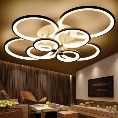 Ring Shape White Finished Chandeliers, LED Circle Modern Ceiling Hanging Lamp Light for Living Room Indoor Lighting  warm white no remote/8 rings 90W