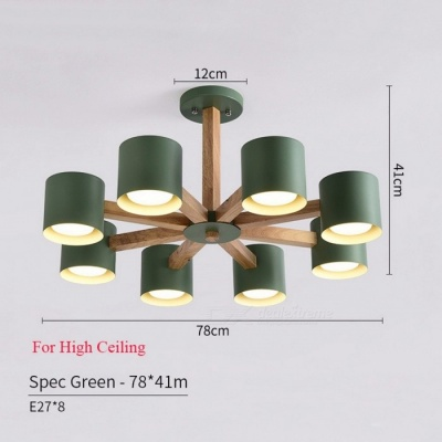 BOTIMI Wooden Lustre Iron Lampshade Nordic Chandelier Lamp with E27 Bulb for Living Room Suspendsion Lighting Fixtures   High 6 Lights Green