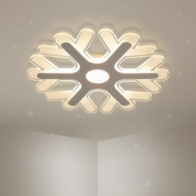 Ultra-thin Acrylic Snowflake Shape LED Chandelier Light, Modern LED Ceiling Pendent Lamp for Study Room, Kids Bedroom D52cm 48W/RC Dimmable/White