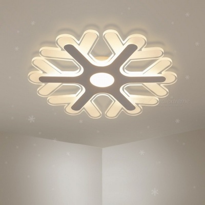 Ultra-thin Acrylic Snowflake Shape LED Chandelier Light, Modern LED Ceiling Pendent Lamp for Study Room, Kids Bedroom D42cm 36W/RC Dimmable/White