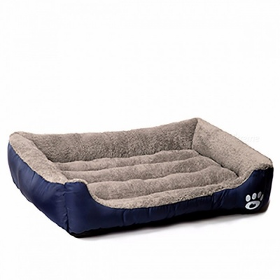 Warming Pet Dog Bed House, Soft Material Nest Dog Baskets, Fall and Winter Warm Kennel for Cat, Puppy M/Navy Blue