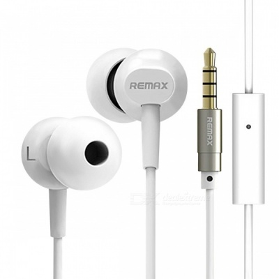 REMAX BASE-DRIVEN HIFI Bass Noise Reduction 3.5mm Wired Earphone, Stereo Sound Comfortable Earbuds with HD MIC for Phone / MP3 White