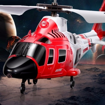 SYMA S111G Attack Marines RC Helicopter with LED Light, 3CH Easy Control Aircraft Shatterproof Toy Gift for Children  Red