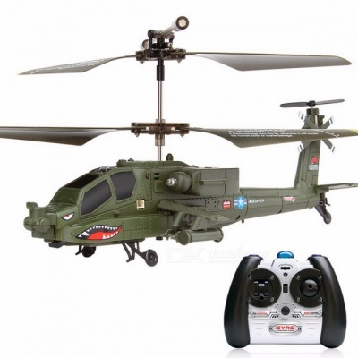 100% Original SYMA S109G 3CH Beast Remote Control RC Helicopter, AH-64 Military Model RTF Flying Toy for Boys Green