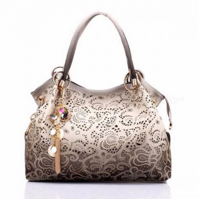 Large Capacity Women's Beautiful Messenger Bag Handbag, Fashion Chic Printing Flowers Sweet Style Female Hand Bag light gray