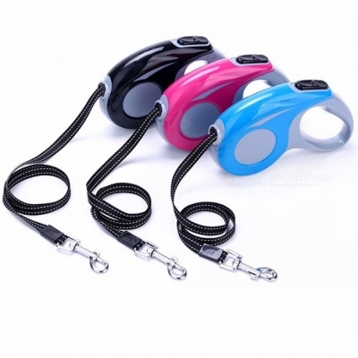 ABS Walking Running Automatic Retractable Leash for Cat, Easy Gripping Pulling Dog Lead Leash for Small Medium Dogs 5M/Rose