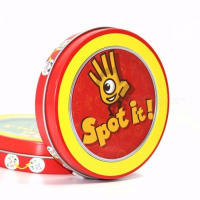 """Newest """"Spot it"""" Cards Table Board Game, High Quality Paper with Metal Box, Best Gift for Your Friends red spot it"""