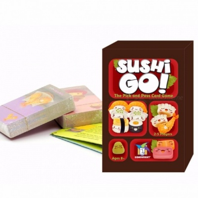 Hot Portable Sushi Go Card Game, Full English Version Board Game, Suitable for Children and Family Playing Colorful