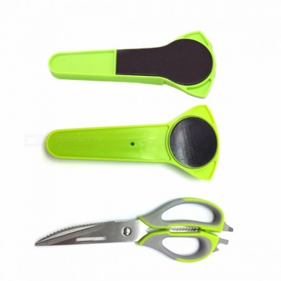 Kitchen Household Stainless Steel Scissors Knife for Fish, Multifunctional Cutter Shear with Magnetic Cover Green