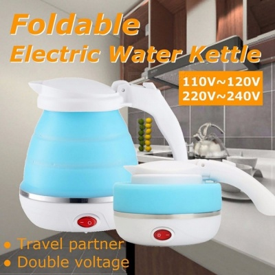 Electric 0.5L Kettle Silicone Foldable 680W Portable Travel Camping Water Boiler Adjustable Voltage Home Electric Appliances 0.5L