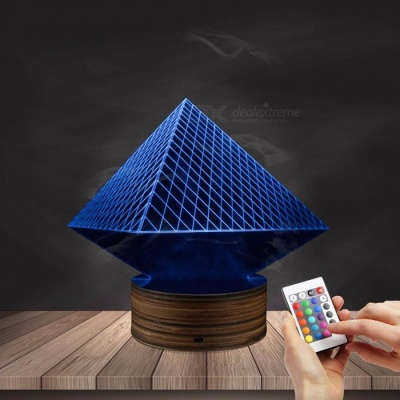 1Piece Egypt Themed 3D illusion Wireframe Lights Egypt Pharaoh Pyramid Anubis Three-Dimensional Light Effect LED Night Lights Burgundy