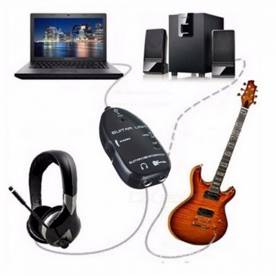 Portable Mini Durable Easy Plug and Play Guitar Link to USB Interface Cable for PC and Video Recording Black