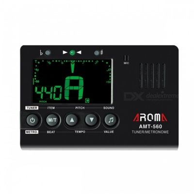 Aroma AMT-560 Portable Guitar Tuner Metronome, Built-in Mic with Pickup Cable for Guitar Chromatic Bass Violin Ukulele Black