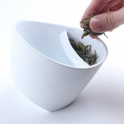 Portable Unique Special Design Tilt Tipping Teacup, Personalized Smart Tea Cup Tilt with Tea Infuser for Home Office White