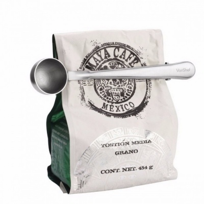 Multifunctional Stainless Steel Coffee Measuring Scoop with Bag Clip, Sealing Tea Measuring Spoon Kitchen Tool Silver